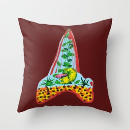 Shark Tooth Terrarium 9 Throw Pillow