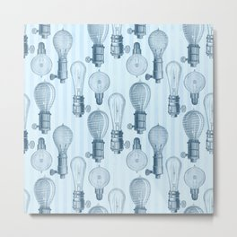 Vintage Light Bulbs Neck Gator Blue Stripe Light Bulb Metal Print
