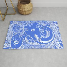 Ganesha Lineart Blue White Rug