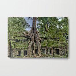 Ruins of Angkor Wat Temple Being Overgrown by Ancient Roots of Banyan Tree Metal Print