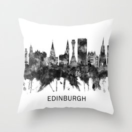 Edinburgh Scotland Skyline BW Throw Pillow