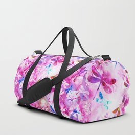 Dragonfly Lullaby in Pink and Blue Duffle Bag