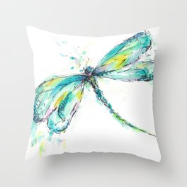 Watercolor Dragonfly Throw Pillow