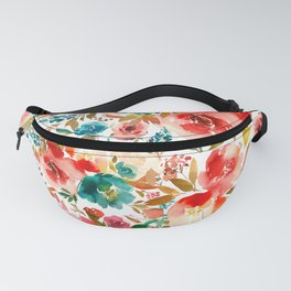 Red Turquoise Teal Floral Watercolor Fanny Pack