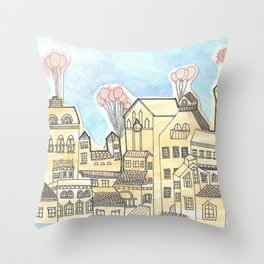 Space Town Throw Pillow