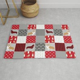 Corgi Patchwork Print - red, dog, buffalo plaid, plaid, mens corgi dog Rug