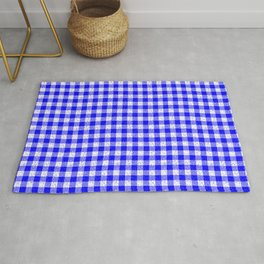 Gingham Blue and White Pattern Rug