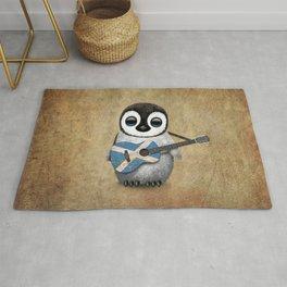 Baby Penguin Playing Scottish Flag Guitar Rug