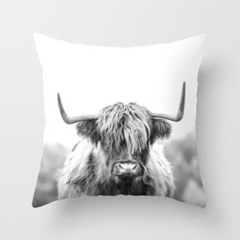 Highland Cow Longhorn in a Field Black and White Throw Pillow