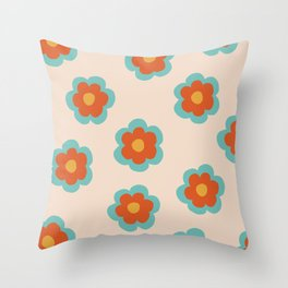 70s Retro Flowers  Throw Pillow
