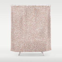 Little wild cheetah spots animal print neutral home trend warm dusty rose coral Shower Curtain