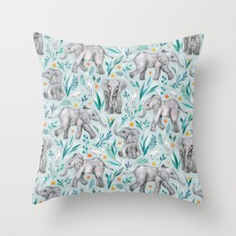 Baby Elephants and Egrets in Watercolor - egg shell blue Throw Pillow