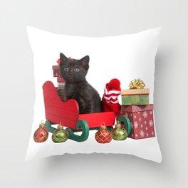 Santa's Sleigh with Kitten Helper Throw Pillow