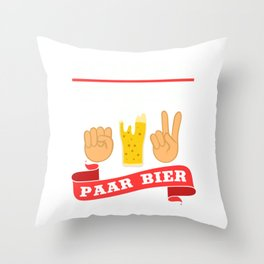 """A Beer Tee For Alcoholic """"Schere Stein Paar Bier"""" T-shirt Design Alcohol Partying Party Scissor Rock Throw Pillow"""
