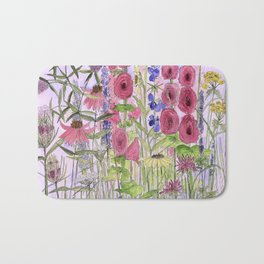 Watercolor Wildflower Garden Flowers Hollyhock Teasel Butterfly Bush Blue Sky Bath Mat