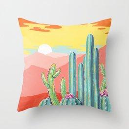 Wild Barrel Cacti Sunset Throw Pillow