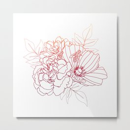 Floral Arrangment - Sunset Ombre Metal Print