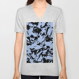 Blue Black Pattern Military Camouflage Unisex V-Neck