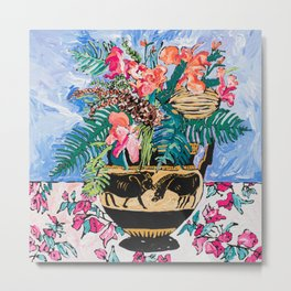 Tropical Banksia Bouquet after Matisse in Greek Boar Urn on Pale Painterly Blue Metal Print