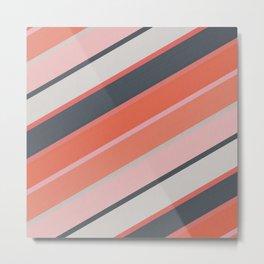 Orange and Gray Diagonal Stripes Metal Print