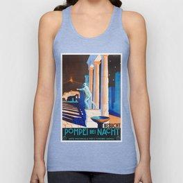 Pompei at Night - Vintage German Travel Ad Unisex Tank Top