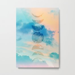 Unicorn Pastel Clouds Moon Phases #2 #decor #art #society6  Metal Print