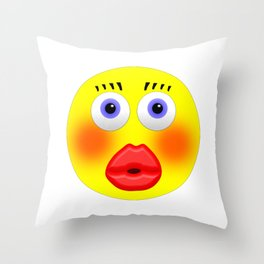 Smiley Embarrassed Kissing Girl Throw Pillow