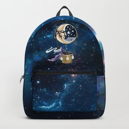 Vintage hot air ballon in a starry galaxy night sky Backpack