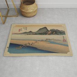 Japanese Art Print - Hiroshige - Kanaya station on the Tokaido Road (1836) Rug