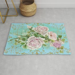 Pink Roses Bouquet in Blue Aqua Ombre and Gold Background Rug