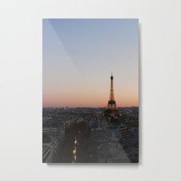 Eiffel Tower During Sunset Metal Print
