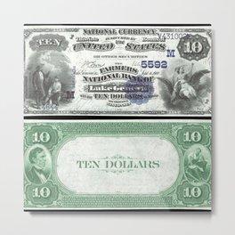 1882 U.S. Federal Reserve Ten Dollar Farmers Bank of Lake Geneva - Ben Franklin drawing electricity Metal Print