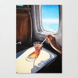 Glass in Airplane | Retro Mid Century | Mad Men Painting Canvas Print