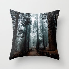 Lost in the Foggy Forest Throw Pillow