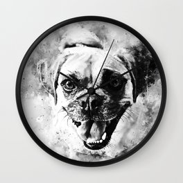 happy pug dog wsbw Wall Clock