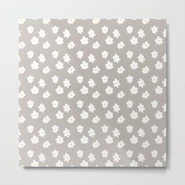 Daisy Print Grey Metal Print