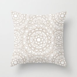 Grey and White Mandala Pattern Custom Throw Pillow