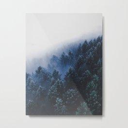 Purple Misty Forest Mountain Pine Tree Landscape Foggy Forest Metal Print