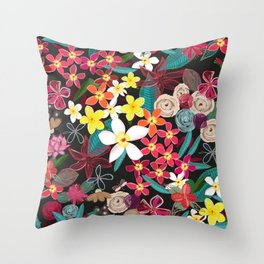 Frangipani tropical colorful floral pattern Throw Pillow