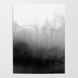 Modern Black and White Watercolor Gradient Poster