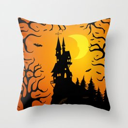 Scary dark forest with a fairy castle on top of the mountain lit by the bright light of the moon Throw Pillow