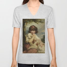 Joshua Reynolds - A Young Girl and Her Dog Unisex V-Neck