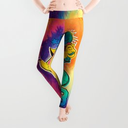 A reworked Bicycle acid 1943 on a tie dye background. Leggings