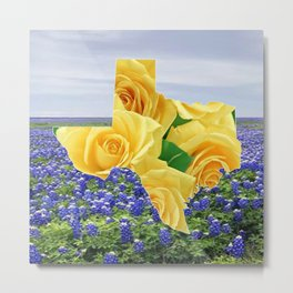 Texas Shape Yellow Roses And Bluebonnets Metal Print