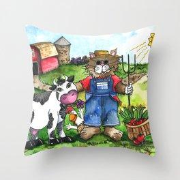 Farmer Fluffy at Harvest Time Throw Pillow