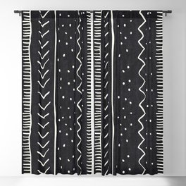 Moroccan Stripe in Black and White Blackout Curtain