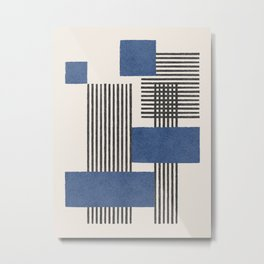 Stripes and Square Blue Composition - Abstract Metal Print