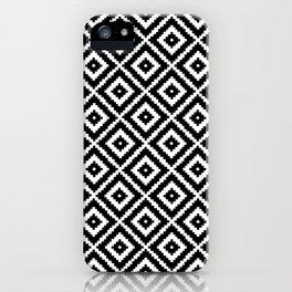 Geometry Square Pattern Black White iPhone Case