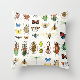 The Usual Suspects - insects on white Throw Pillow