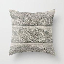 Vintage Saugus MA Map (1896) Throw Pillow